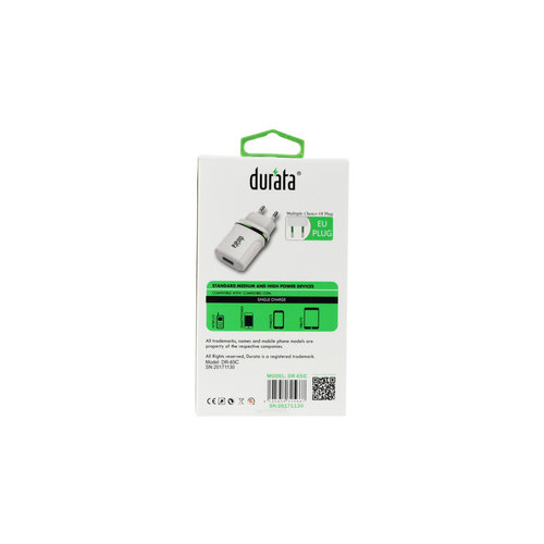 Durata  Adapter with USB Type-C Data Cable DR-65C White