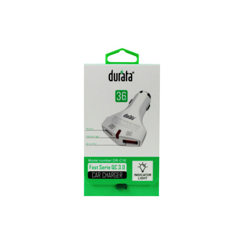 Durata Autolader QC USB + PD Poort Wit DR-C16 + USB-C Kabel