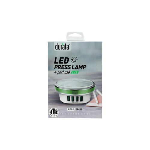 Durata  Home Charger Led Press Lamp 4 USB-port (DR-L12)