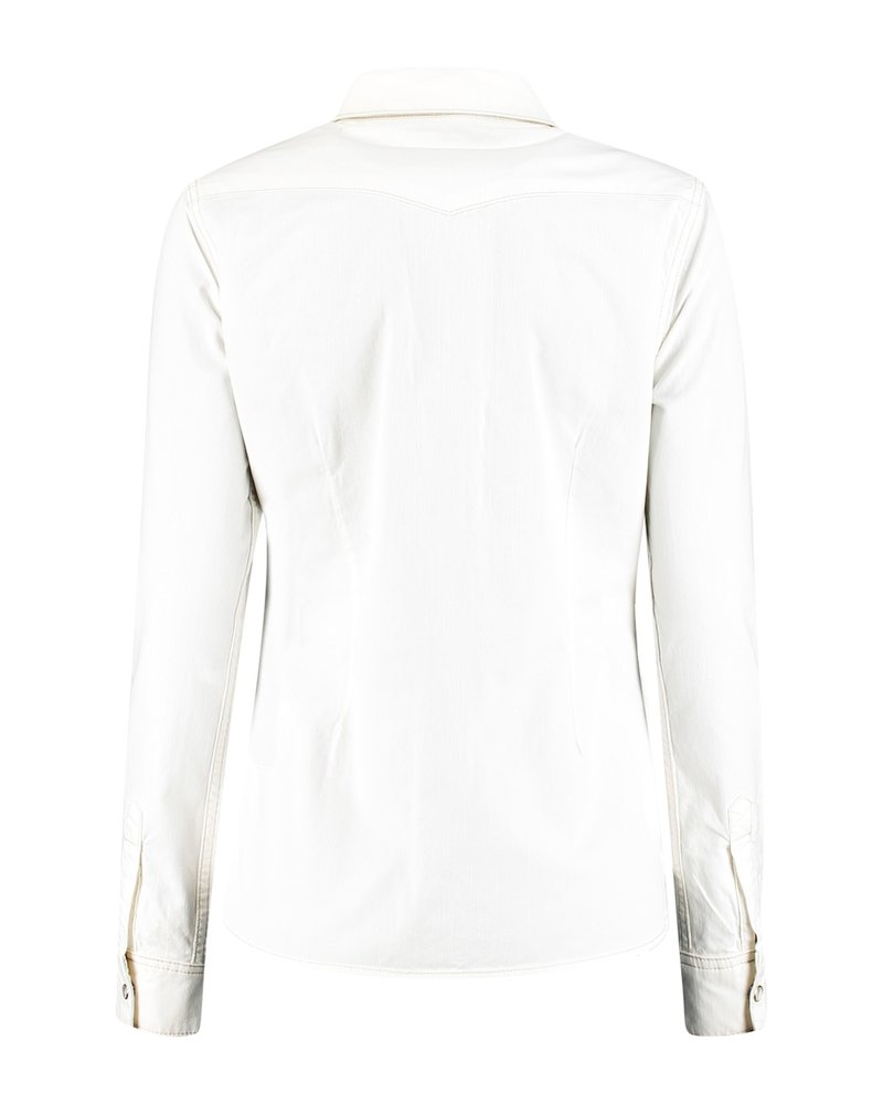Red Button Boby Blouse Color off white 2812