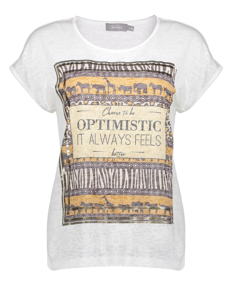Geisha Fashion T-shirt Animal Print ''optimistic'' 12042