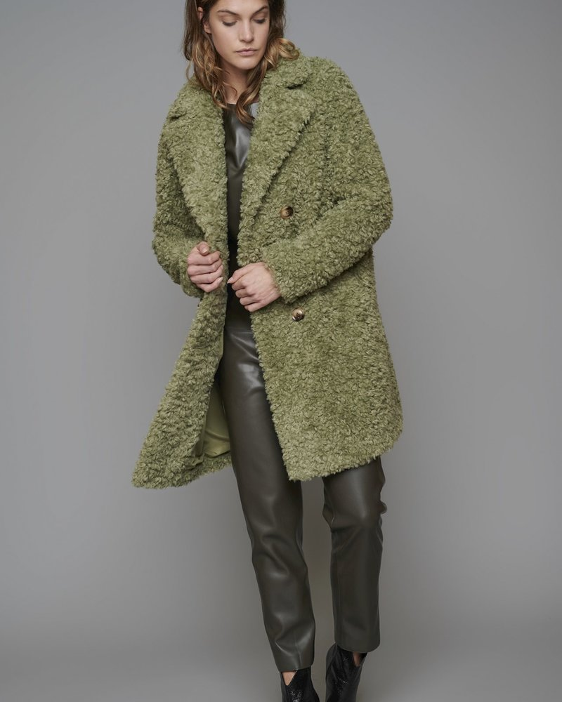 Rino Pelle Detroit Double Breasted Curly Faux Shearling Coat