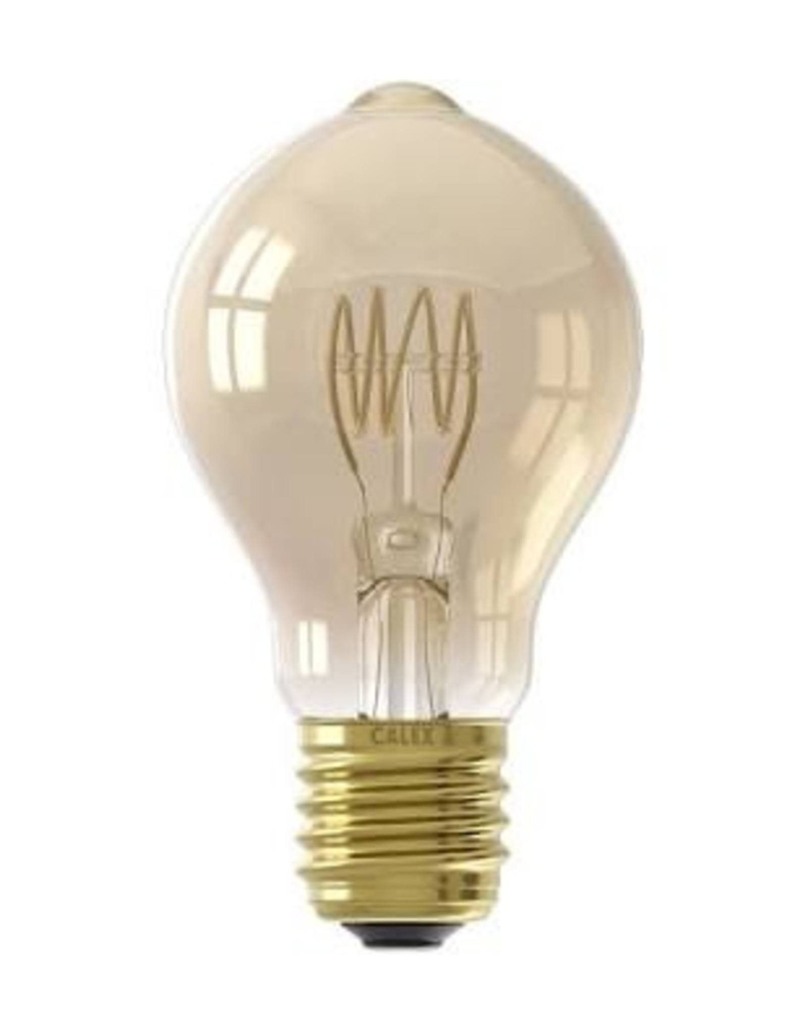 Calex LED Full Glass Flex Filament GLS-lamp 220-240V 4W 200lm E27 A60DR, Gold 2100K Dimmable, energy label A