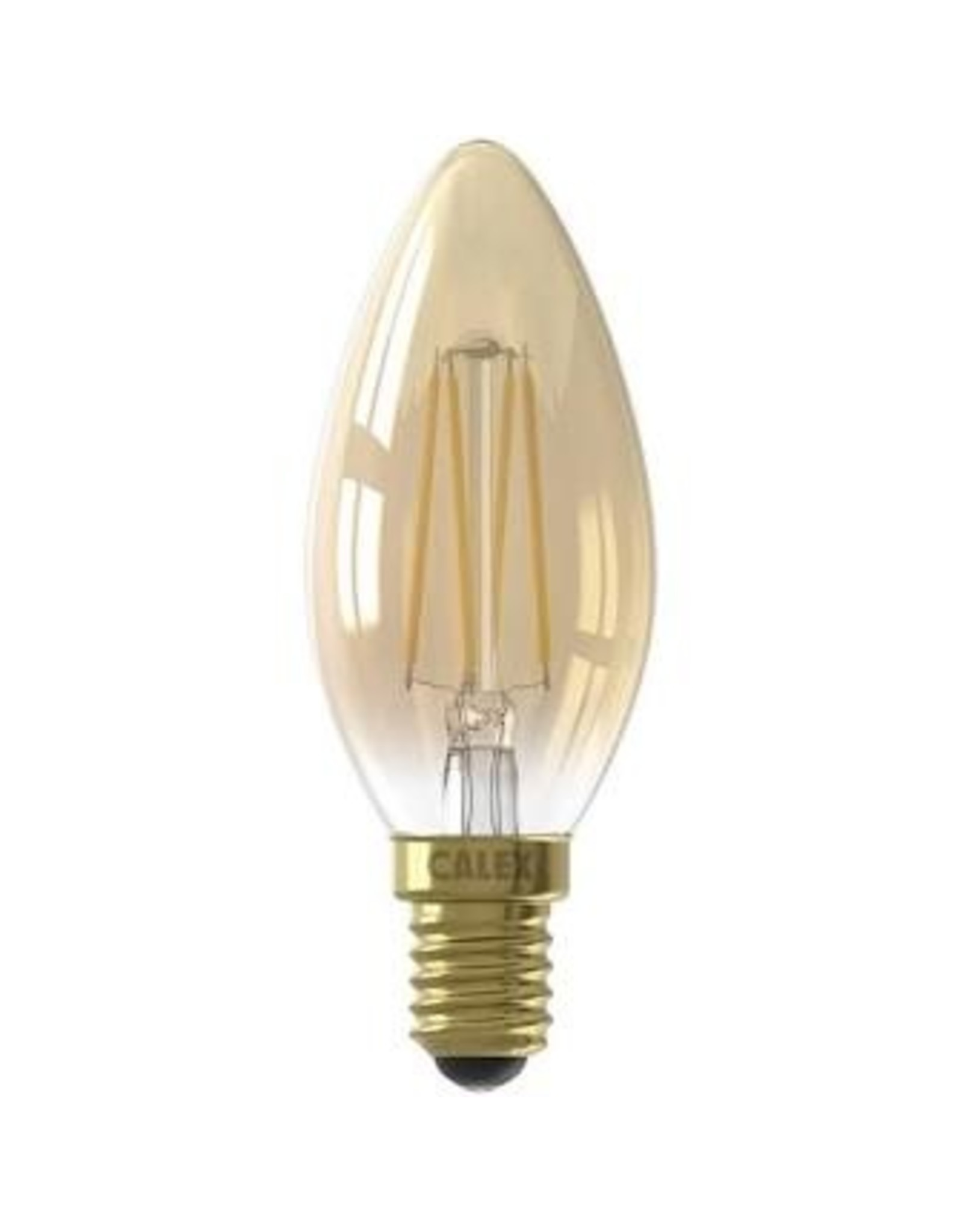 Calex LED Full Glass Filament Candle-lamp 220-240V 3,5W 200lm E14 B35, Gold 2100K CRI80 Dimmable, energy label A+