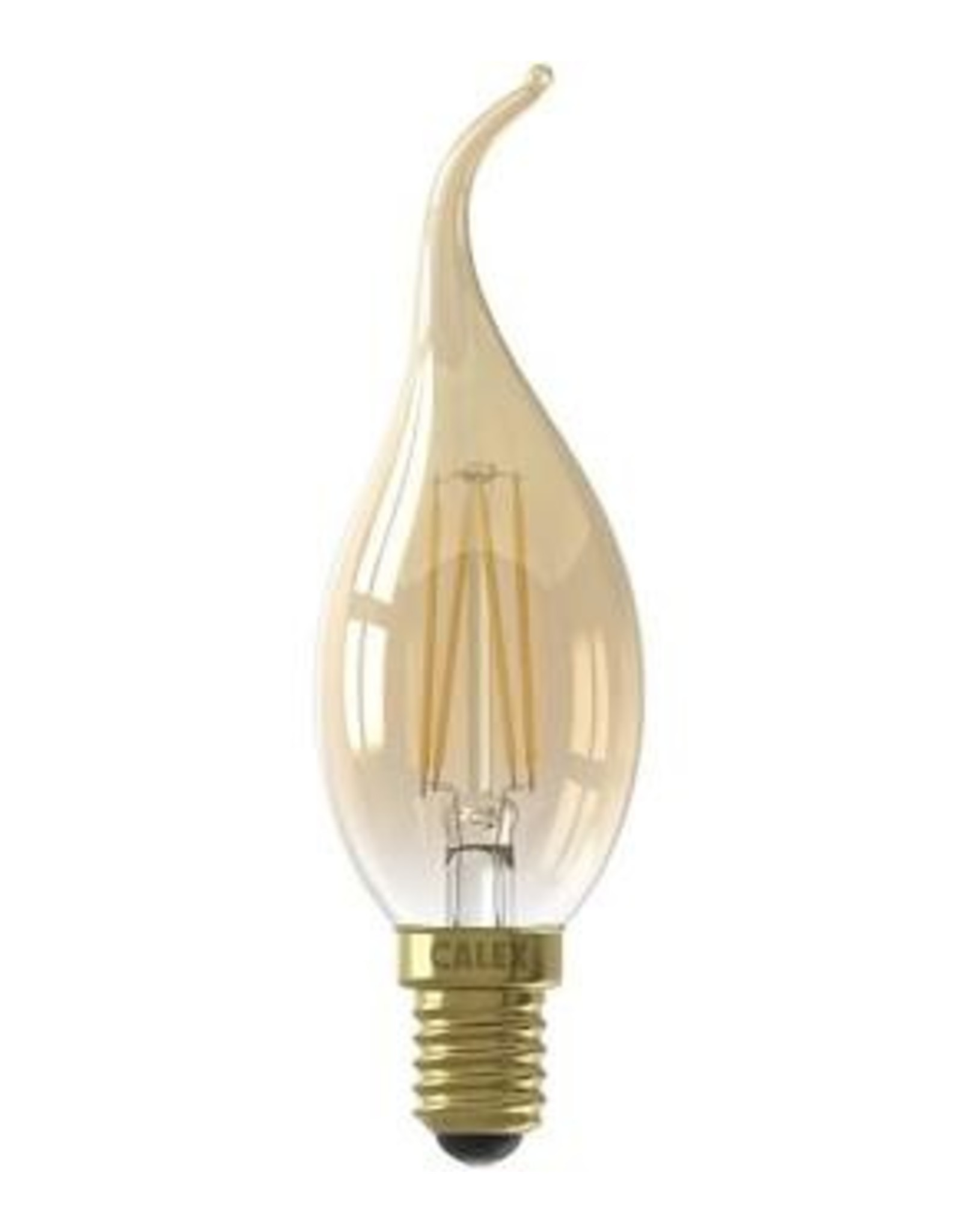 Calex LED Full Glass Filament Tip-Candle-lamp 220-240V 3,5W 200lm E14 BXS35, Gold 2100K CRI80 Dimmable, energy label A+