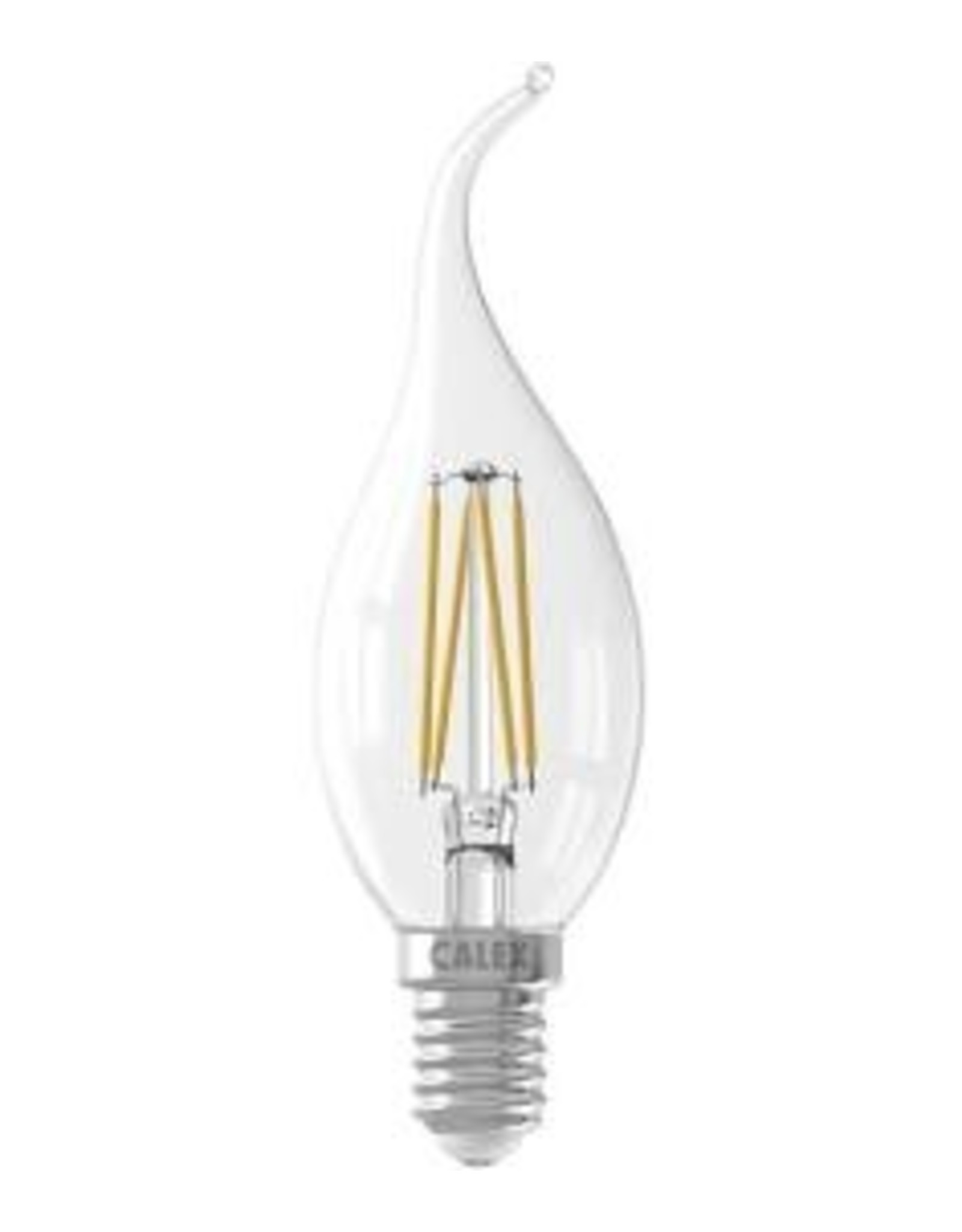 Calex LED Full Glass Filament Tip-Candle-lamp 220-240V 3,5W 350lm E14 BXS35, Clear 2700K CRI80 Dimmable, energy label A++