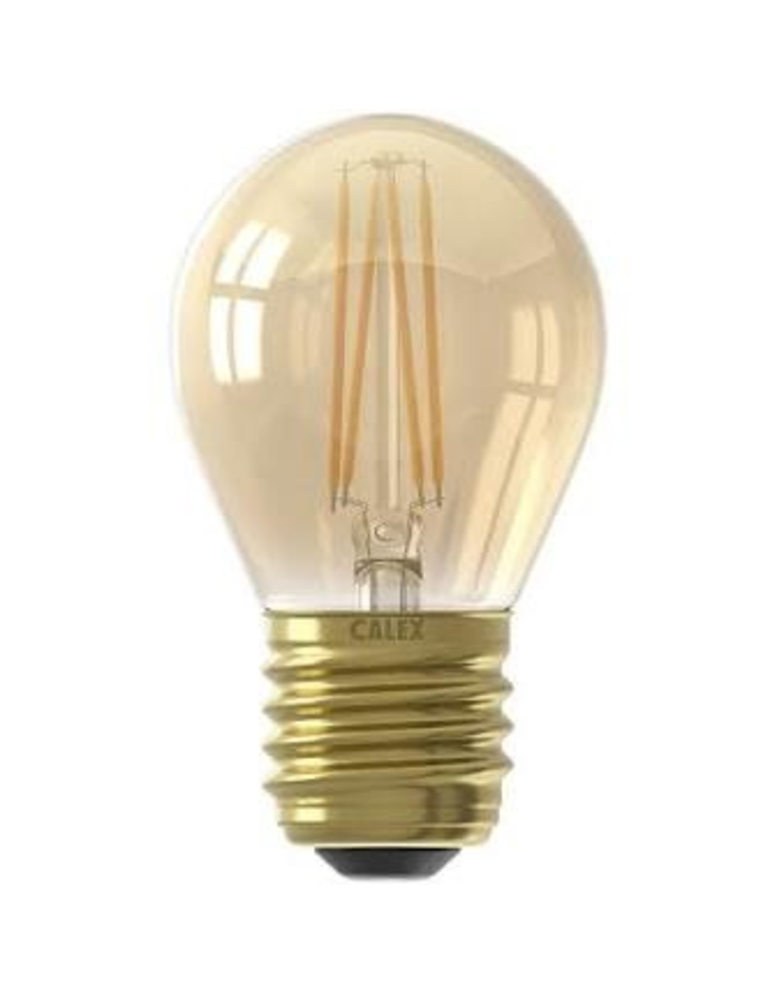 Calex LED Full Glass Filament Ball-lamp 220-240V 3,5W 200lm E27 P45, Gold 2100K CRI80 Dimmable, energy label A+