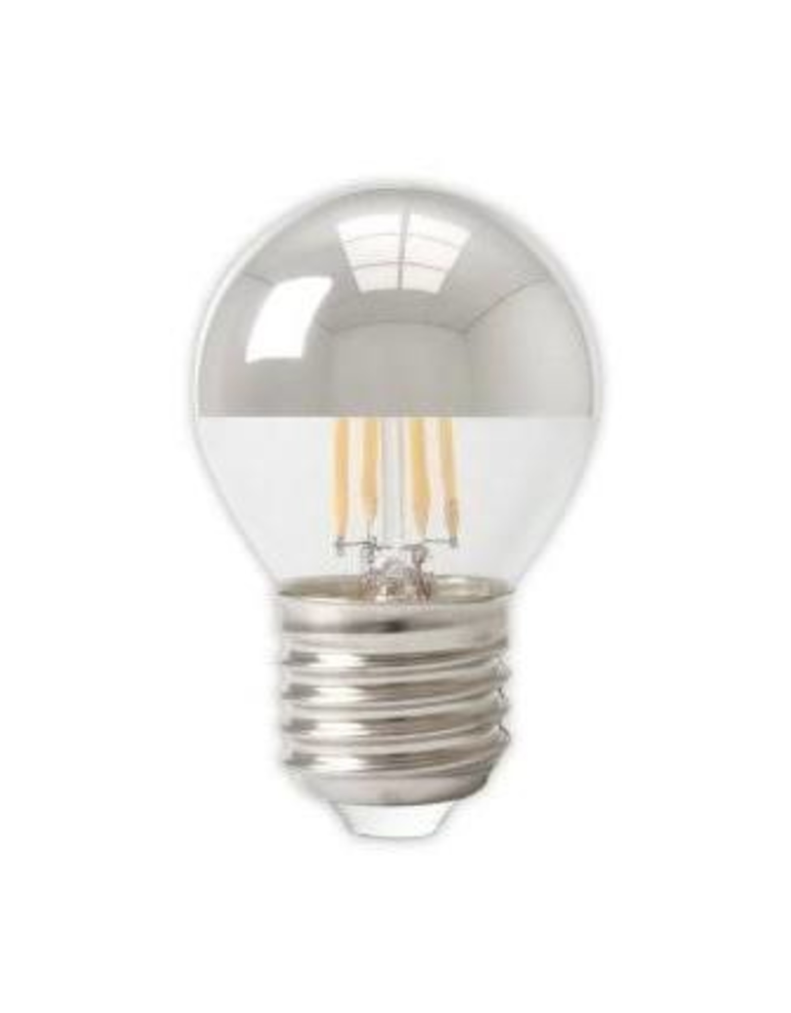 Calex LED Full Glass Top-mirror Filament Ball-lamp 220-240V 4W 310lm E27 P45, Chrome 2700K CRI80 Dimmable, energy label A+
