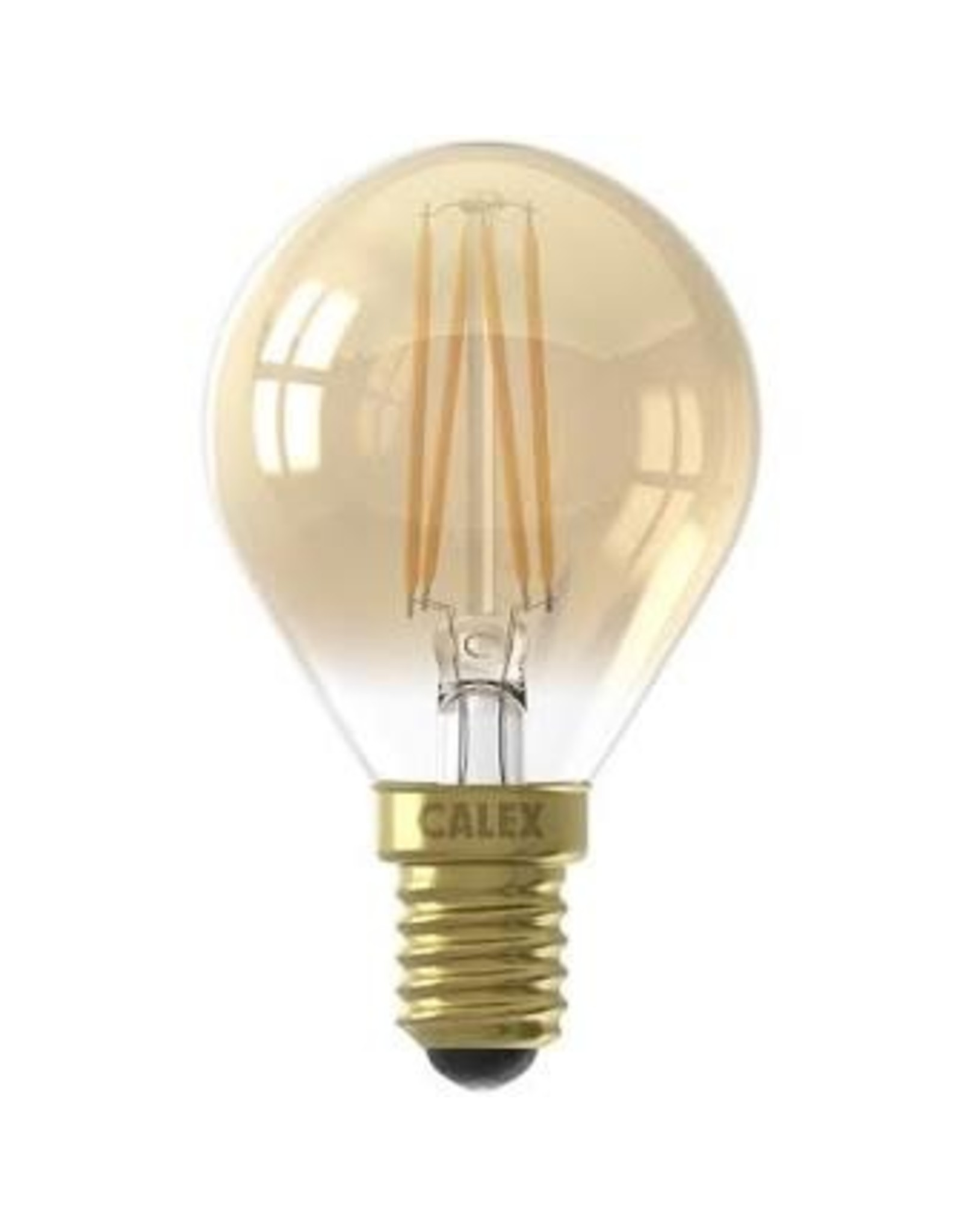 Calex LED Full Glass Filament Ball-lamp 220-240V 3,5W 200lm E14 P45, Gold 2100K CRI80 Dimmable, energy label A+