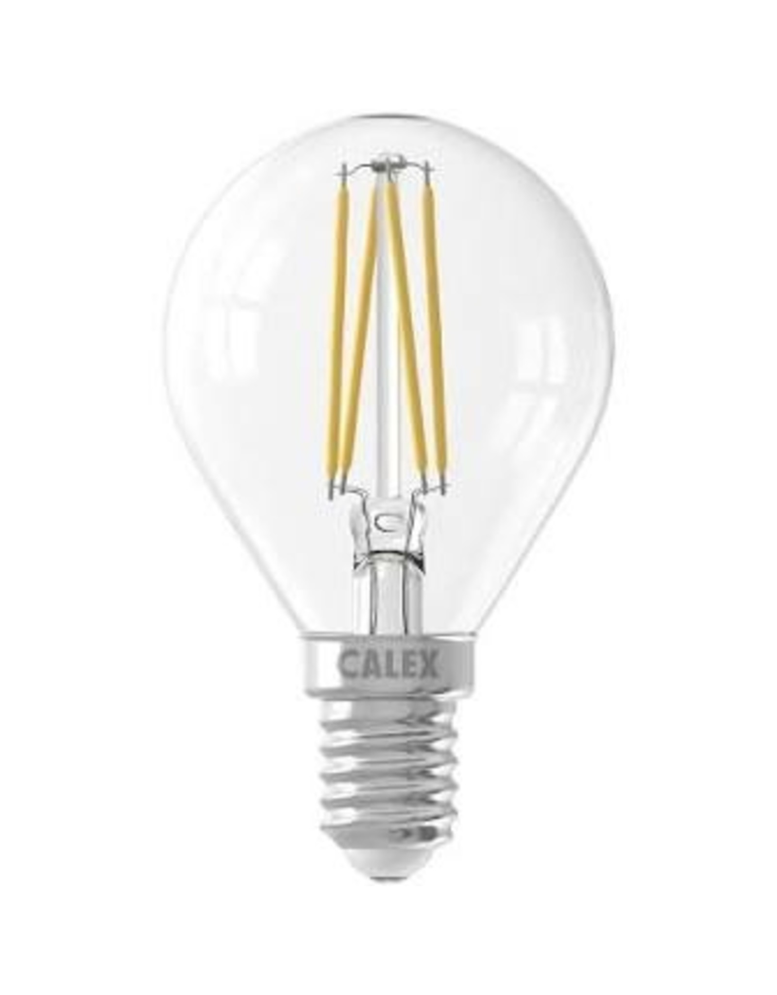 Calex LED Full Glass Filament Ball-lamp 220-240V 3,5W 350lm E14 P45, Clear 2700K CRI80 Dimmable, energy label A++