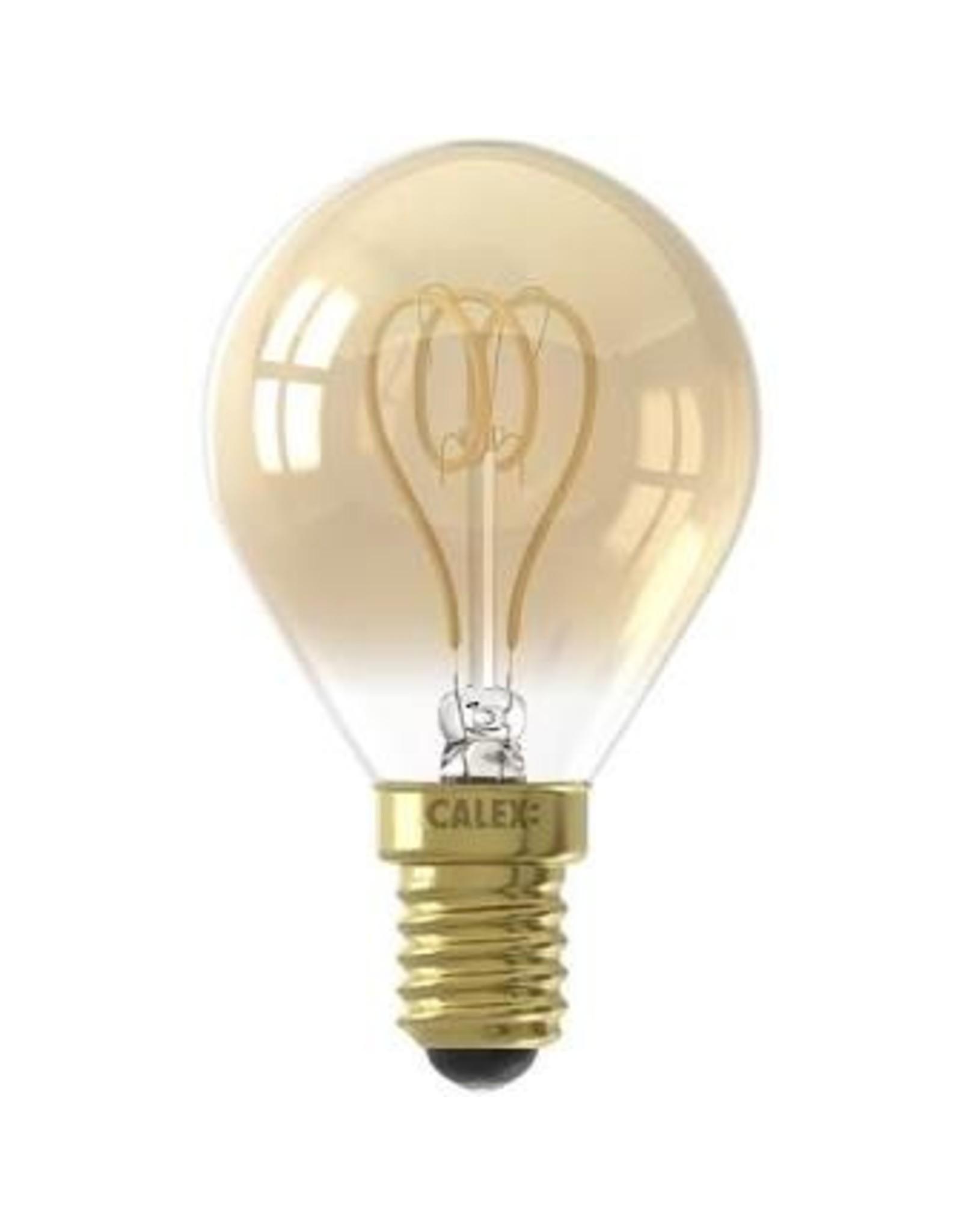 Calex LED Flex Filament Ball lamp P45 220-240V 4W E14 120lm 2100K Gold, dimmable, energy label B