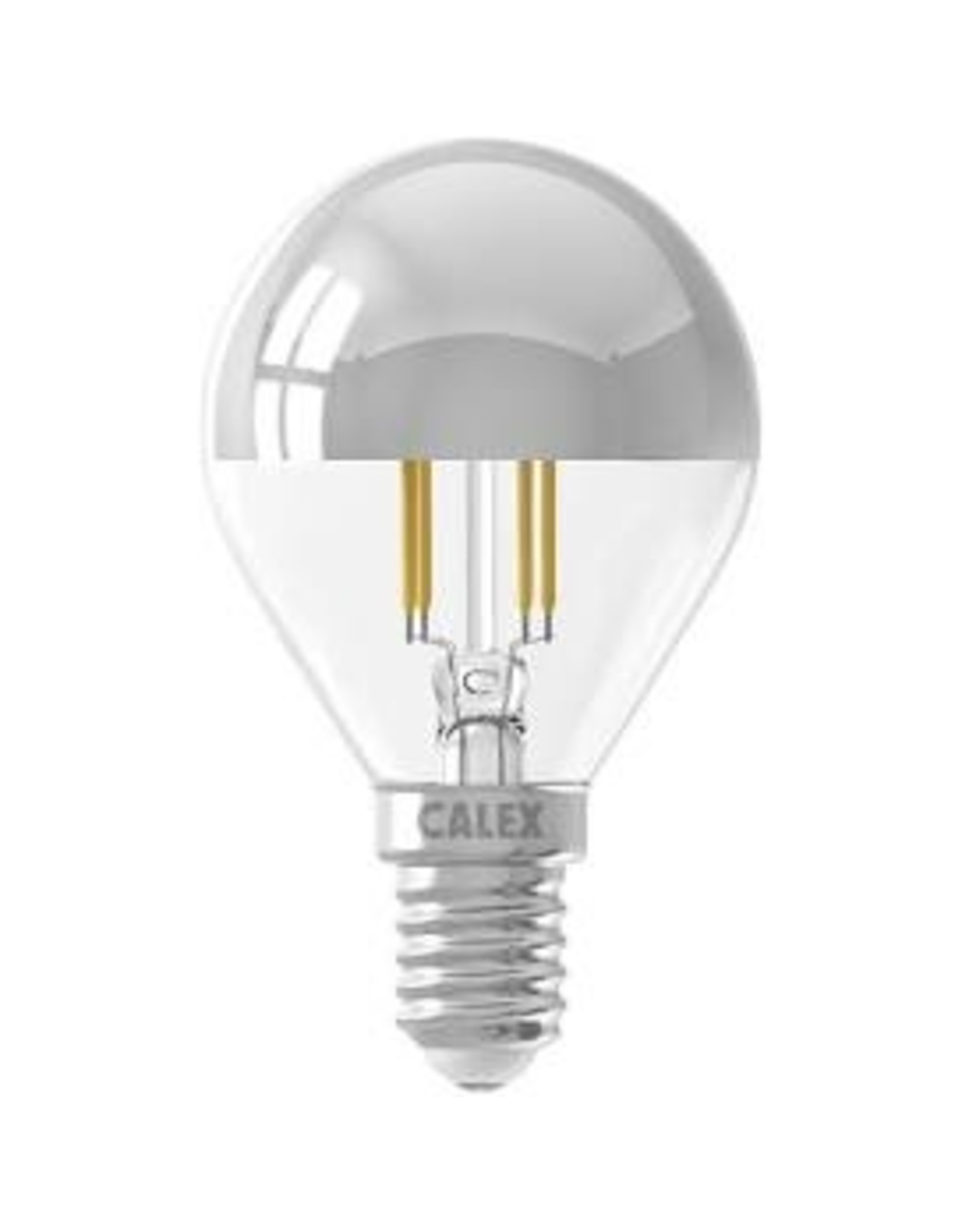 Calex LED Full Glass Top-mirror Filament Ball-lamp 220-240V 4W 310lm E14 P45, Chrome 2700K CRI80 Dimmable, energy label A+