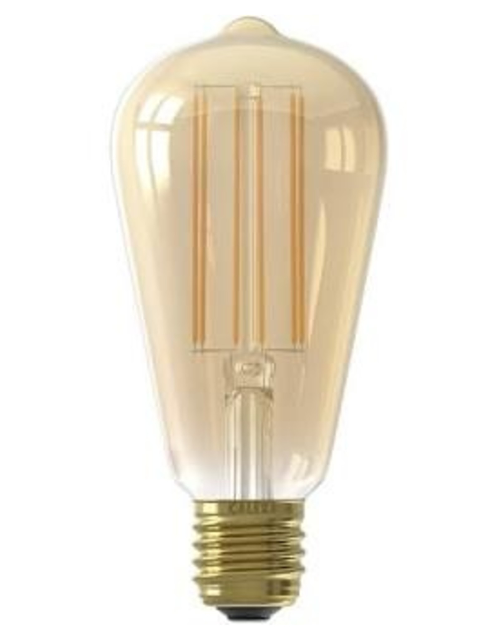 Calex LED Full Glass LongFilament Rustik Lamp 220-240V 4W 320lm E27 ST64, Gold 2100K Dimmable, energy label A+