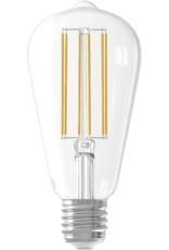 Calex LED Full Glass LongFilament Rustik Lamp 220-240V 4W 350lm E27 ST64, Clear 2300K Dimmable, energy label A+