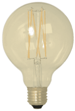 Calex LED Full Glass LongFilament Globe Lamp 220-240V 4W 320lm E27 G80, Gold 2100K Dimmable, energy label A+