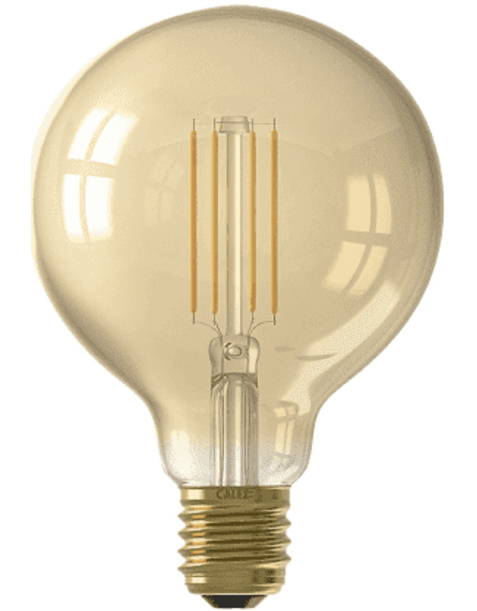 Calex LED Full Glass LongFilament Globe Lamp 220-240V 4W 320lm E27 G95, Gold 2100K Dimmable, energy label A+