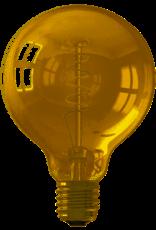 Calex LED Full Glass Flex Filament Globe Lamp 220-240V 4W 200lm E27 G95, Gold 2100K Dimmable, energy label A