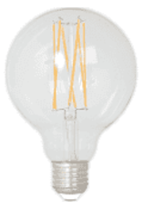 Calex LED Full Glass LongFilament Globe Lamp 220-240V 4W 350lm E27 G95, Clear 2300K Dimmable, energy label A+