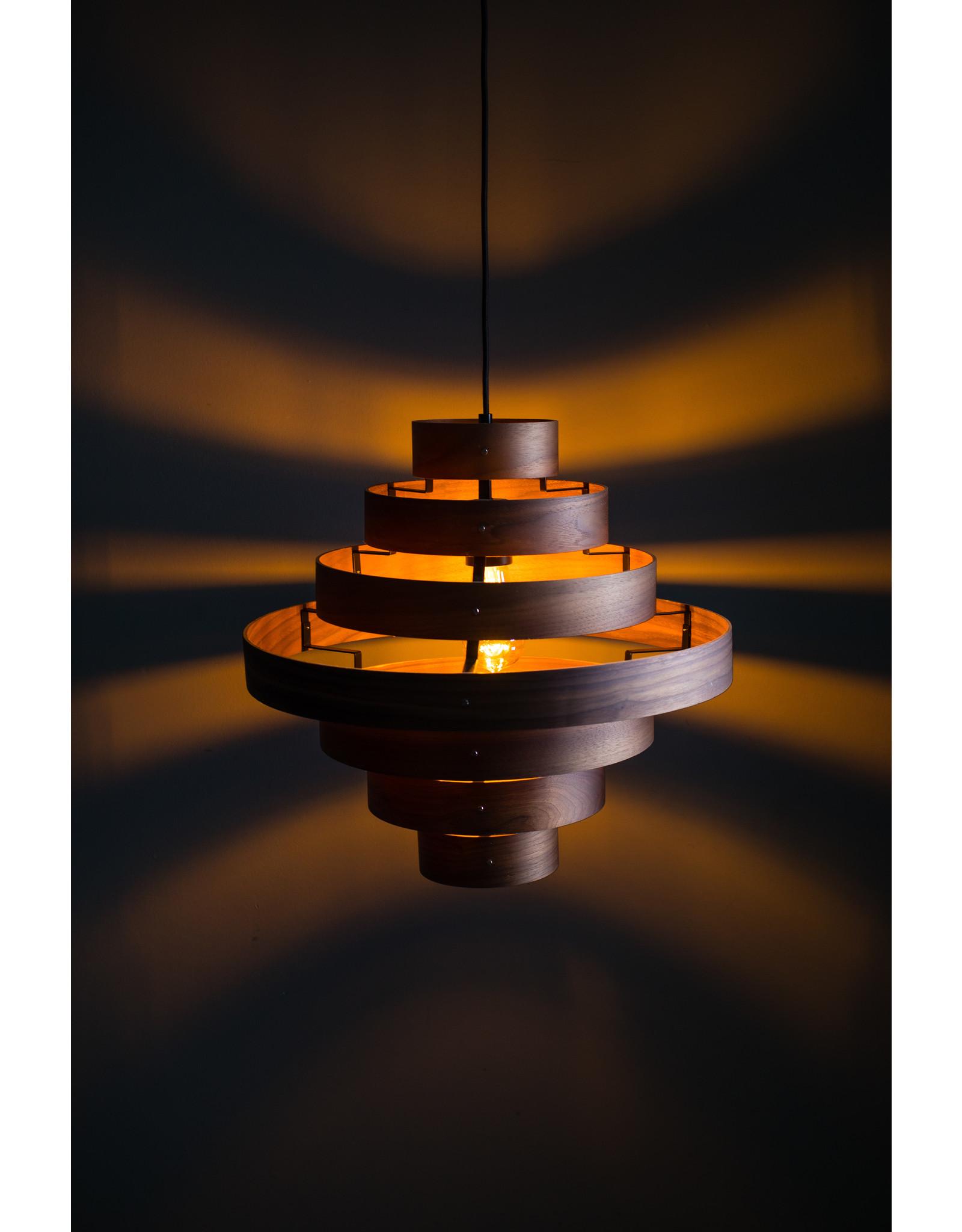 Walnut hanglamp 7 rings 1x E27 hout