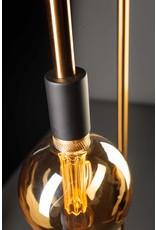 Pike vloerlamp 1x E27 messing / zwart aan/uit