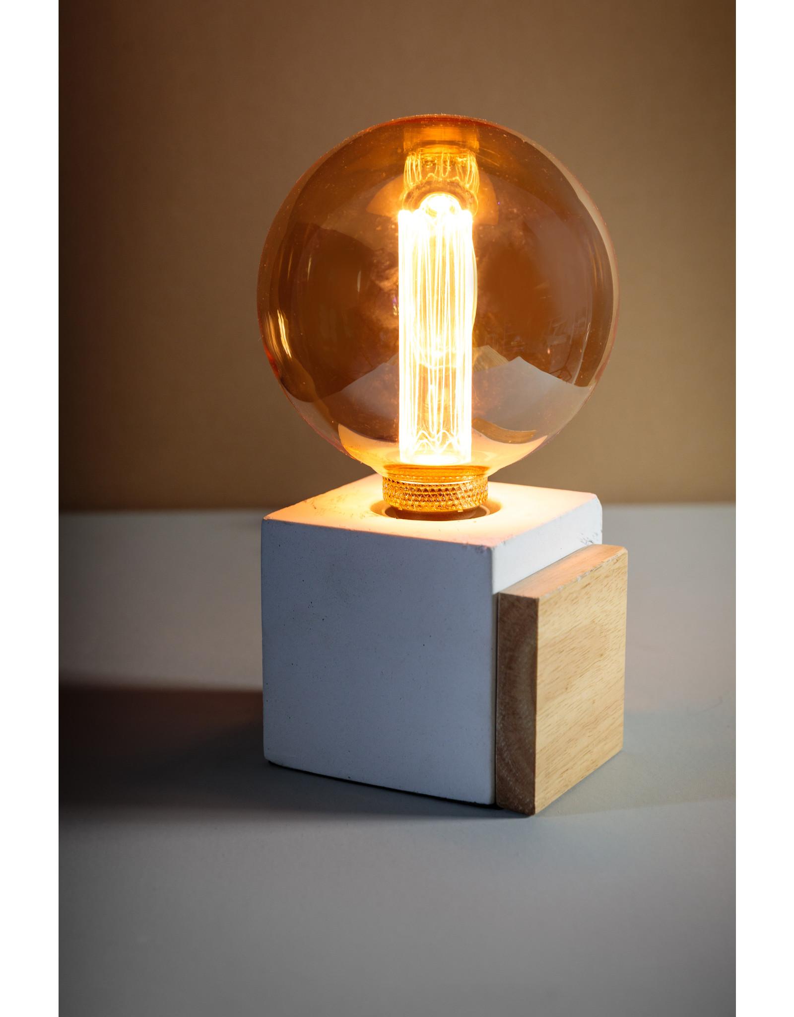 Cube tafellamp 1x E27 beton / hout
