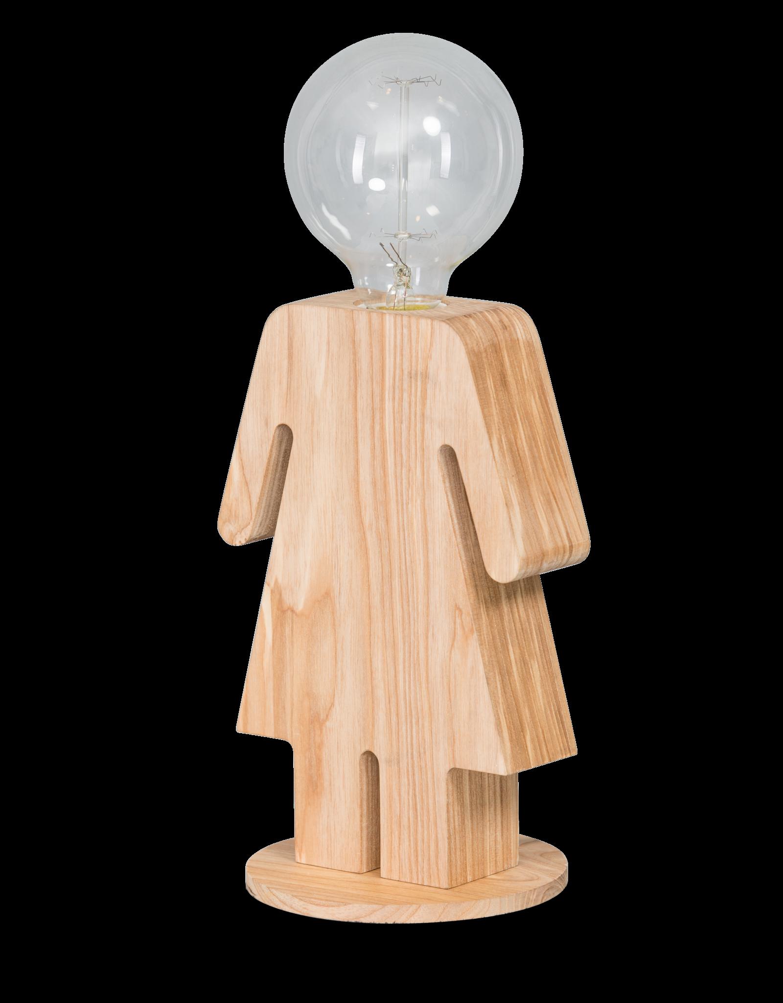 Eve tafellamp vrouw 24cm 1x E27 hout