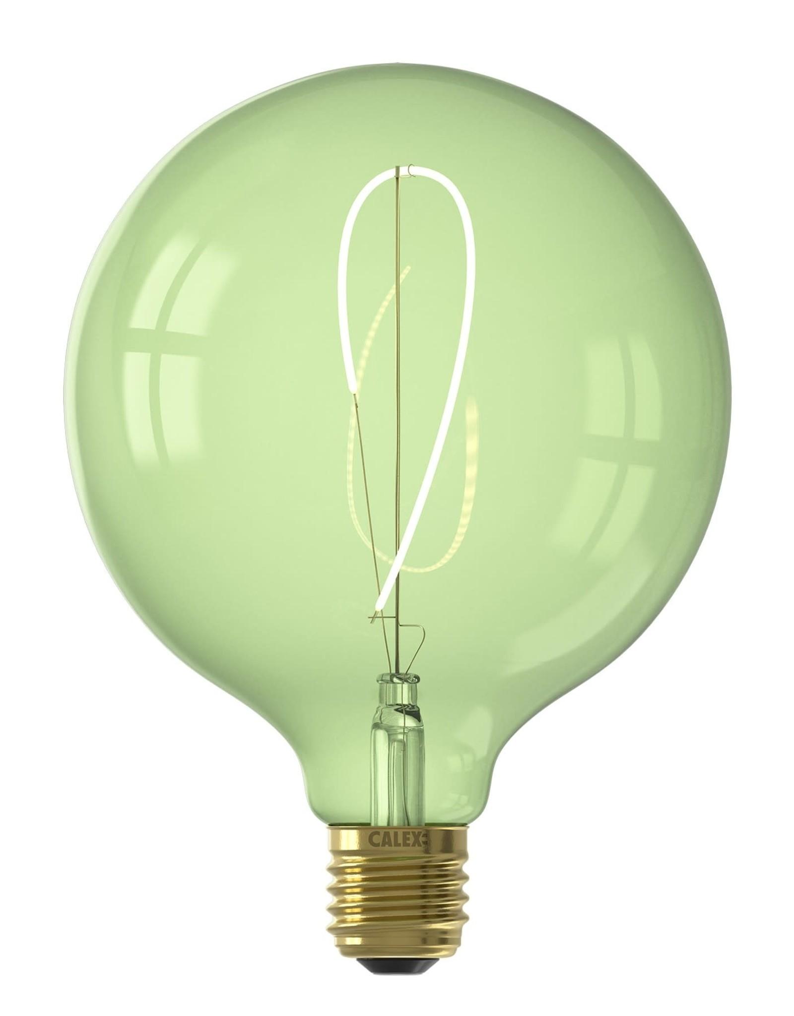 Calex NORA LED colors Globe G125 soft U-filament 240V 4W E27, Emerald Green 2200K dimmable, energy label B