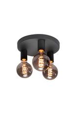 Pl. Basic 25cm. 3 X E27 Mat Zwart zonder lampen