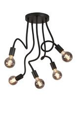 Pl. Flex 5 X E27 Mat Zwart met Alu lamphouder