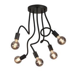 Plafondlamp Flex 5x E27 Mat Zwart