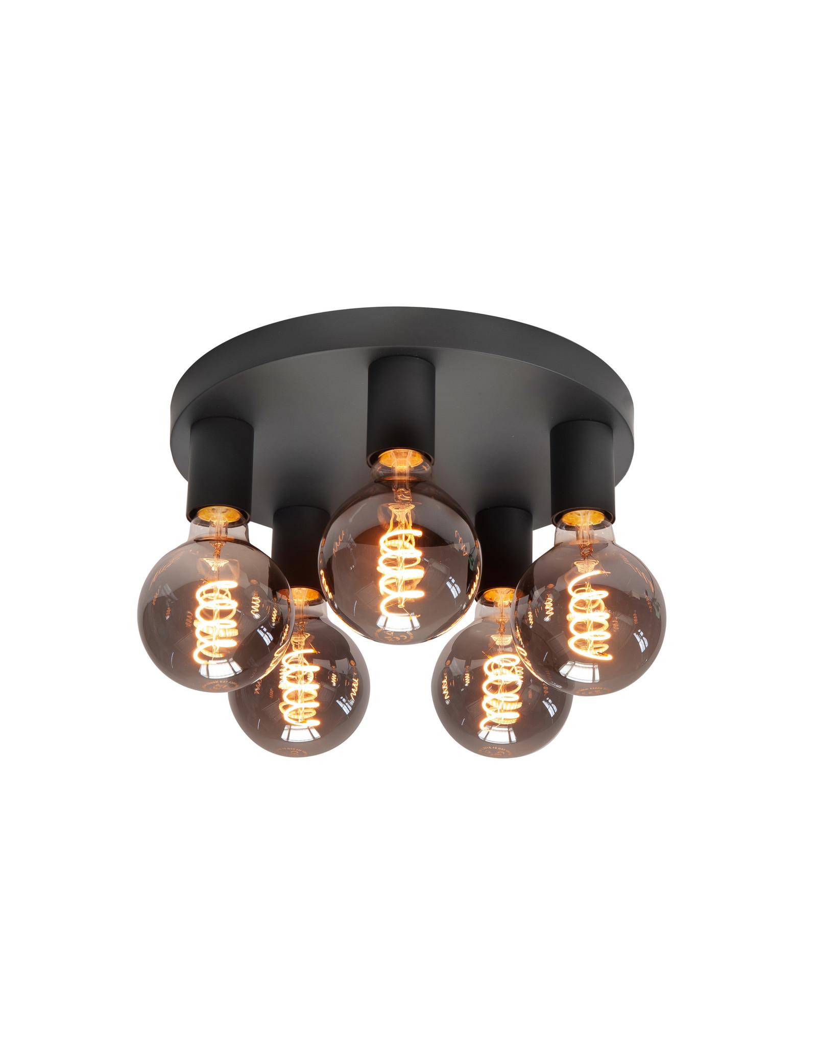 Pl. Basic 30cm. 5 X E27 Mat Zwart zonder lampen