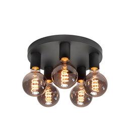 Plafondlamp Basic 5x E27 Zwart Mat