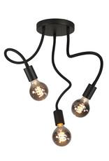 Pl. Flex 3 X E27 Mat Zwart met Alu lamphouder