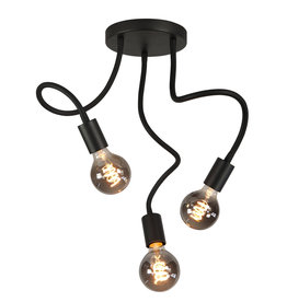 Plafondlamp Flex 3 x E27 Mat Zwart