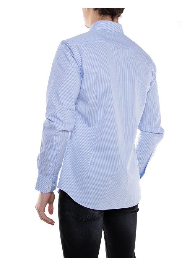 Chemise bleue lignée