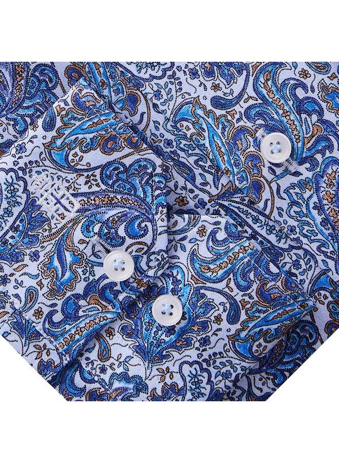Col Italien - Motifs Paisley - Bleu & Brun