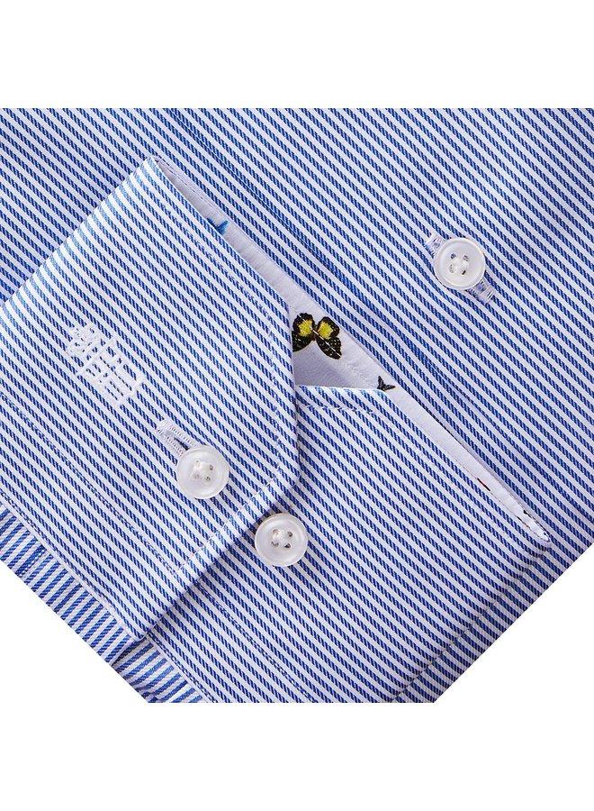 Chemise lignée bleue (Col italien à motifs)