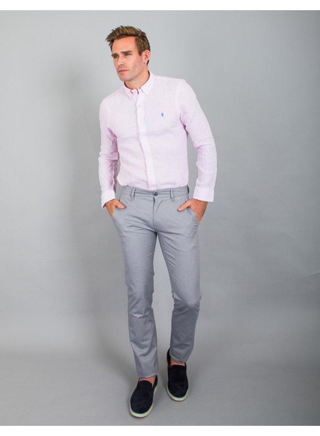 Chemise en lin rayée rose