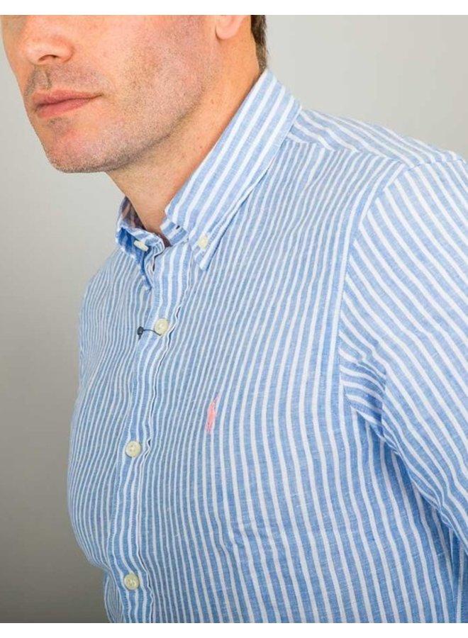 Chemise en lin rayée bleue