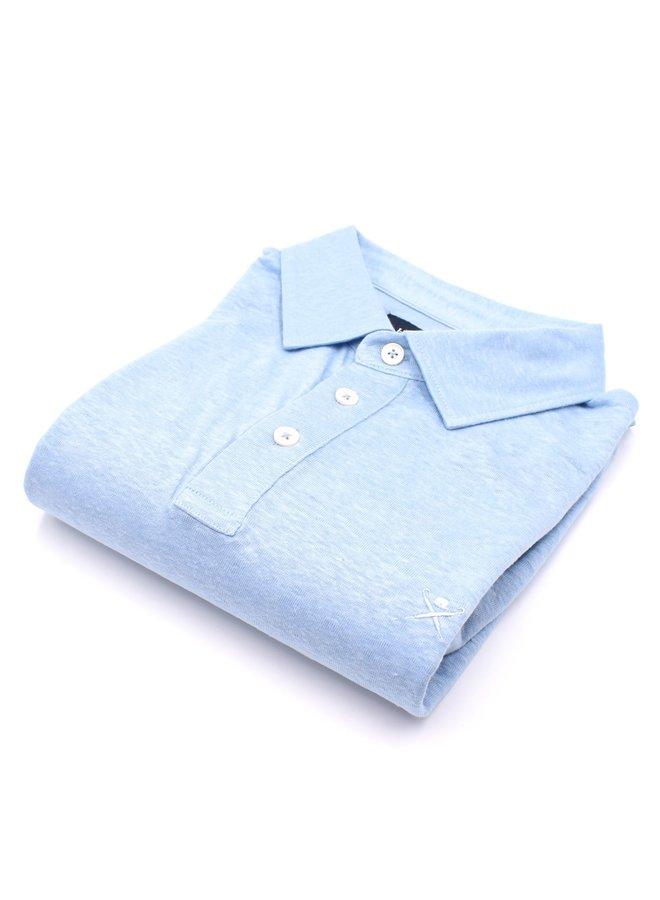Polo en lin bleu clair