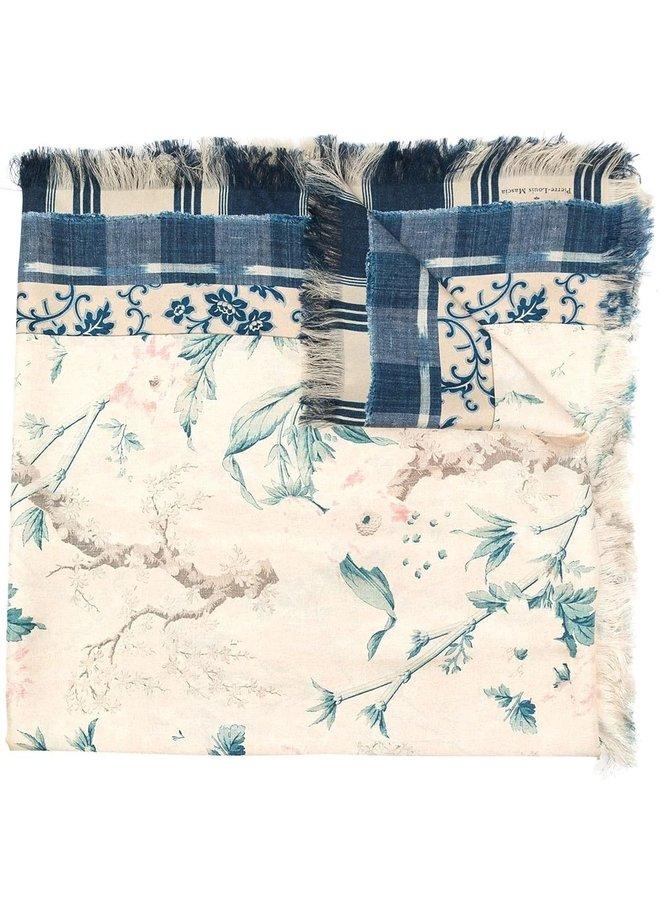 """Foulard en soie """"Blue Flowers"""""""