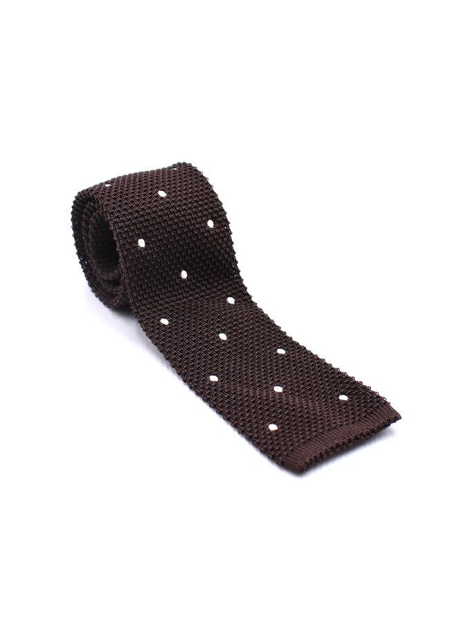 Cravate en tricot à pois marron