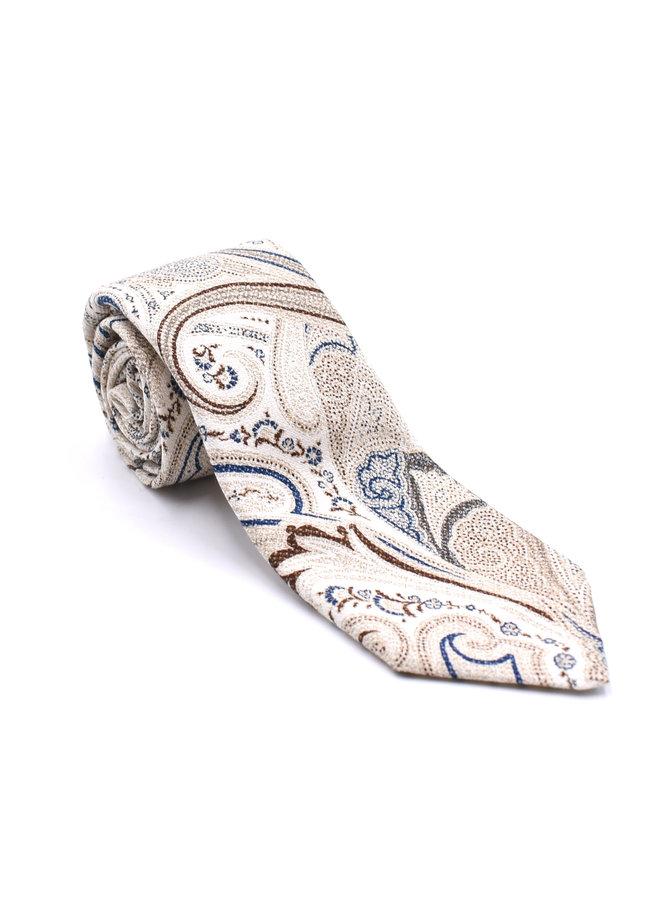 Cravate paisley blanche