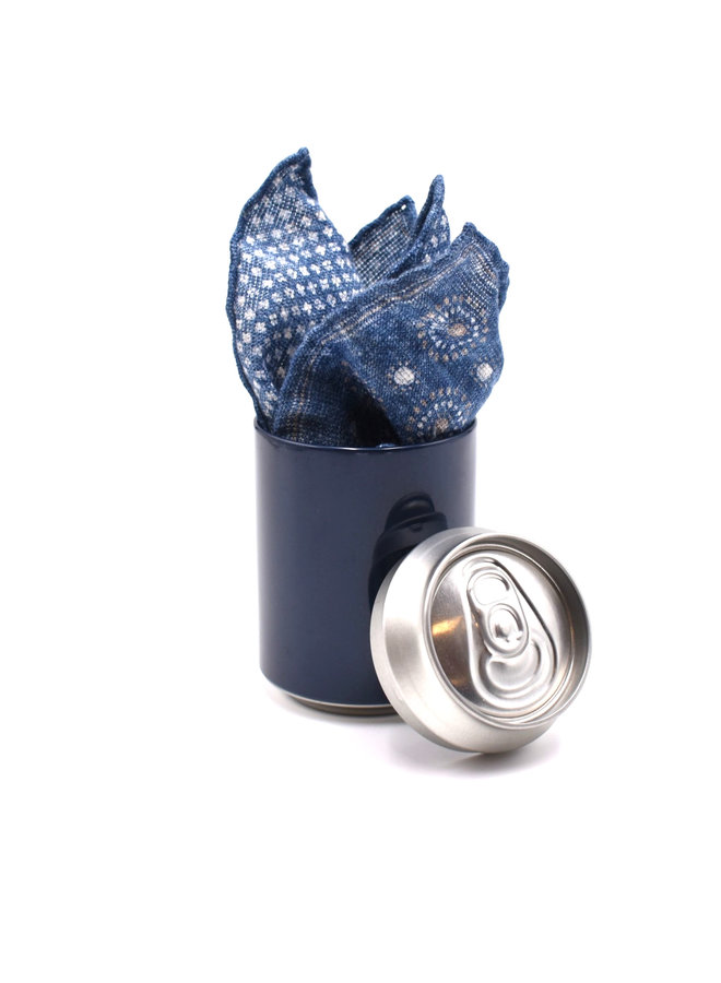 Pochette 100% lin bleue