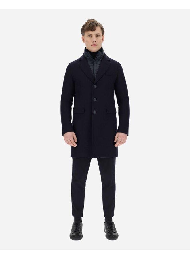 Manteau De Laine En Diagonal - Dark Navy