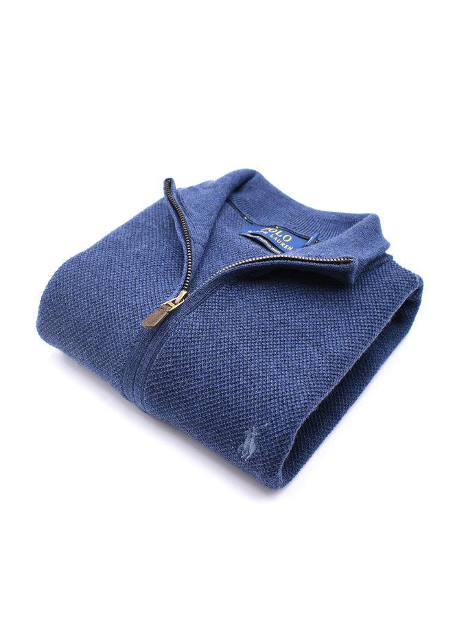 Half-Zip Piqué - Blue