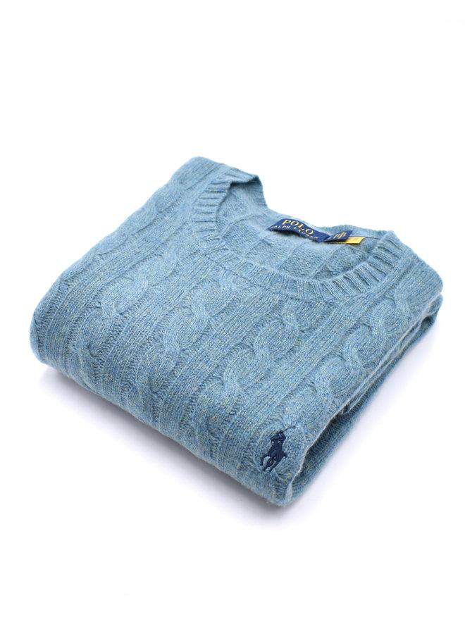 Pull en laine et cachemire torsadé - Vert d'eau