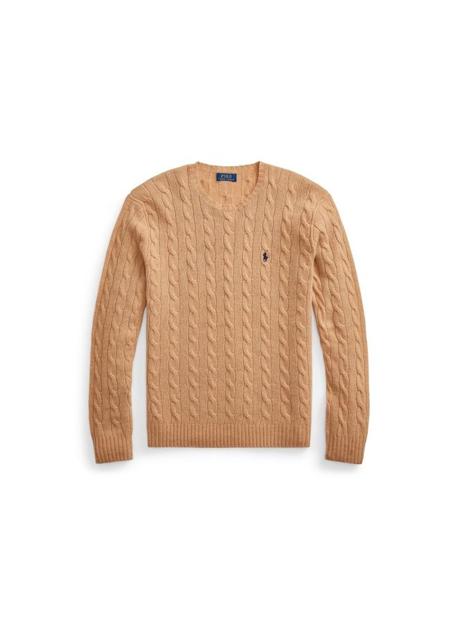 Pull en laine et cachemire torsadé - Camel