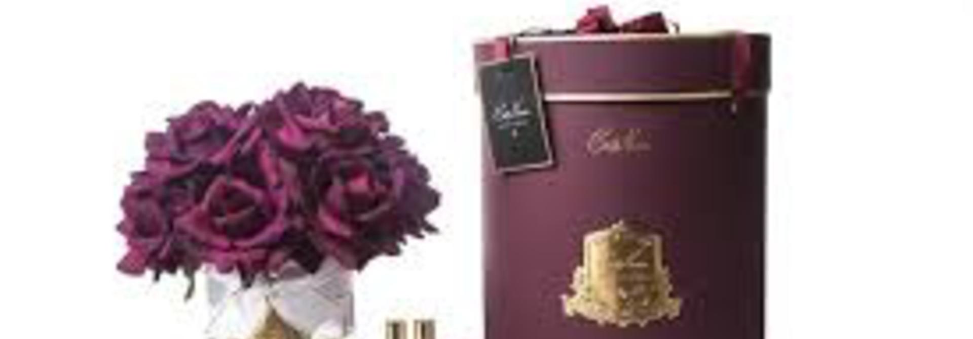 COTE NOIRE - Large Bouquet Carmine Roses in Clear Vase