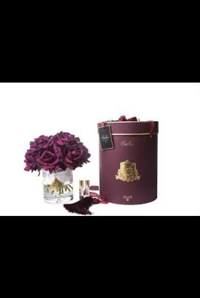 COTE NOIRE - Grand Bouquet Roses Carmin Vase Clair